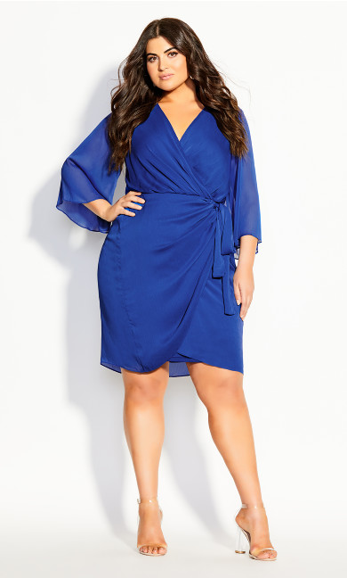 Women's Plus Size Softly Wrap Dress - cobalt