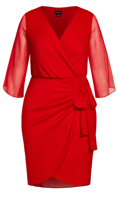 Softly Wrap Dress - red