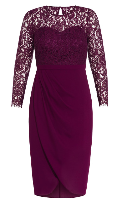 Elegant Lace Dress - bordeaux