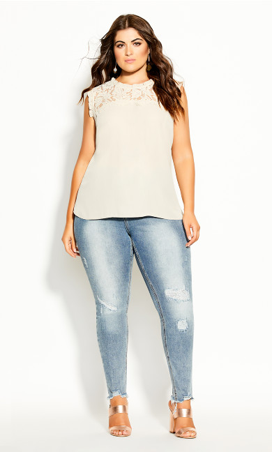 Plus Size Lace Angel Top - buff