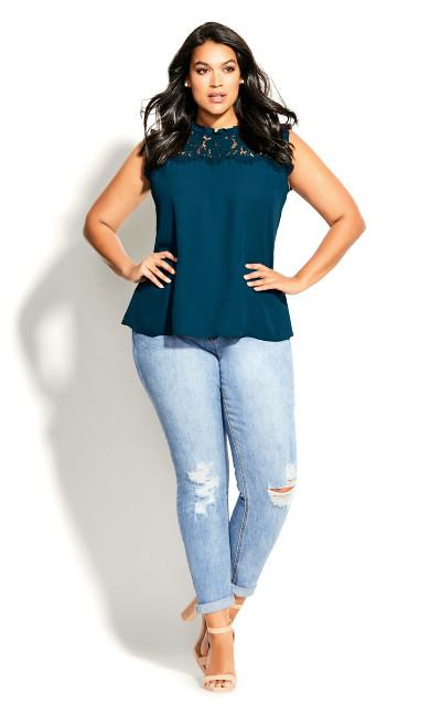 Plus Size Lace Angel Top - emerald