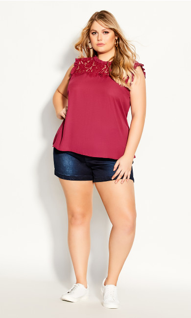 Plus Size Lace Angel Top - magenta