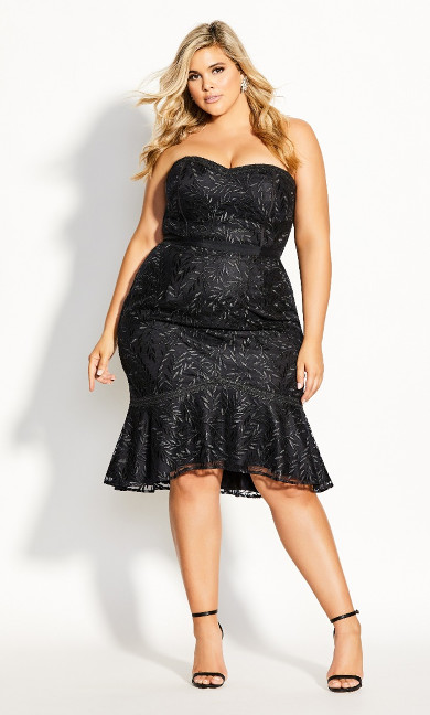 Women's Plus Size Vine Embroidery Dress - black