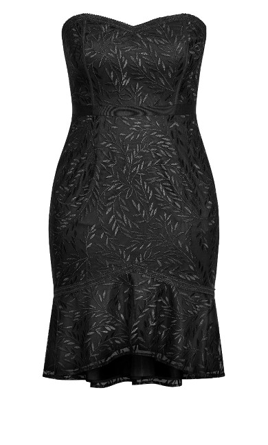 Vine Embroidery Dress - black