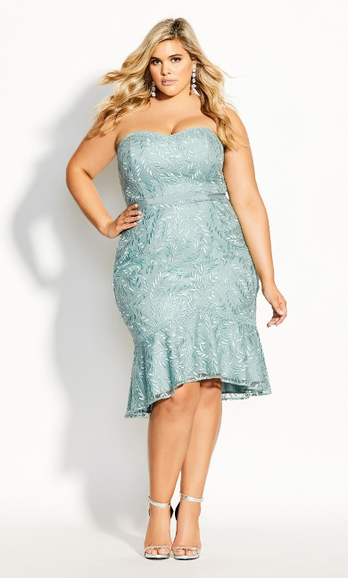 Women's Plus Size Vine Embroidery Dress - seafoam
