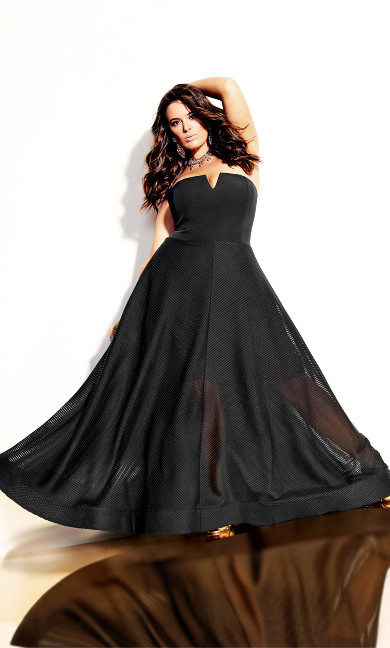 Textured Bella Maxi Dress - black