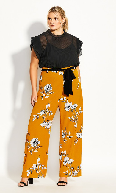 Plus Size Serene Floral Pant - gold