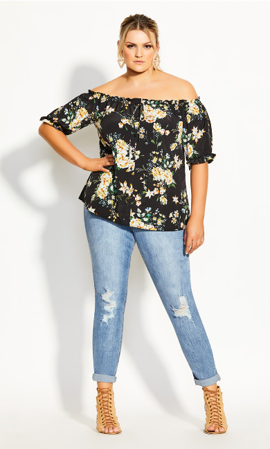 Heirloom Floral Top - black