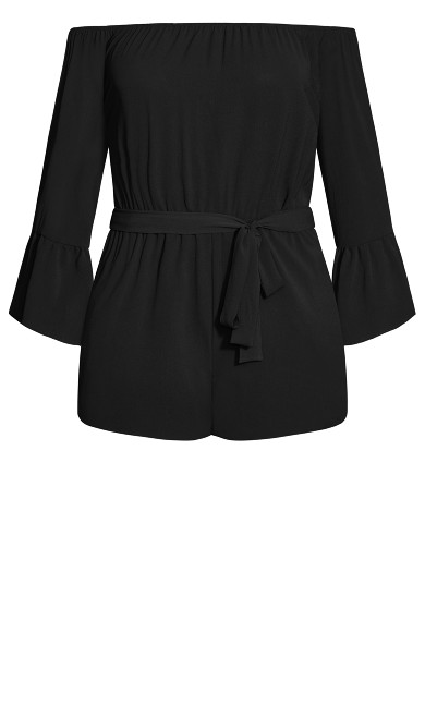Romantic Sleeve Playsuit - black