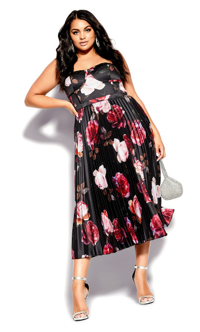 Plus Size Rich Bloom Dress - black