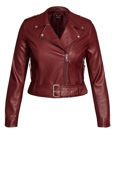 Belted Biker Jacket - beetroot