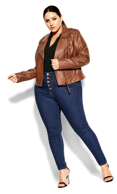 Plus Size Cross Stitch Biker Jacket Faux Leather Ginger
