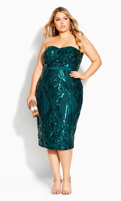 Plus Size Green Sequin Midi Dress