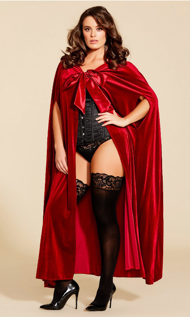 Plus Size Velvet Cape - deep red