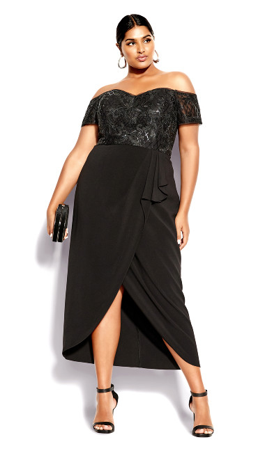 Plus Size Clothing Romantic Ruffle Maxi Dress - black