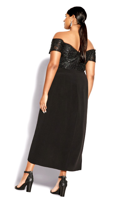 Romantic Ruffle Maxi Dress - black