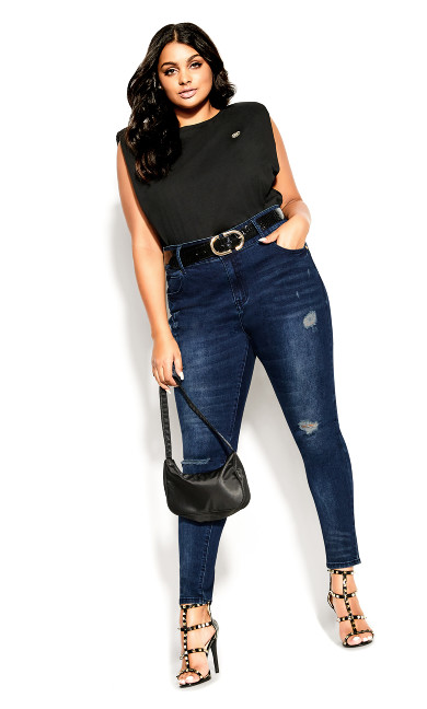 Asha Sweetheart Jean - dark denim