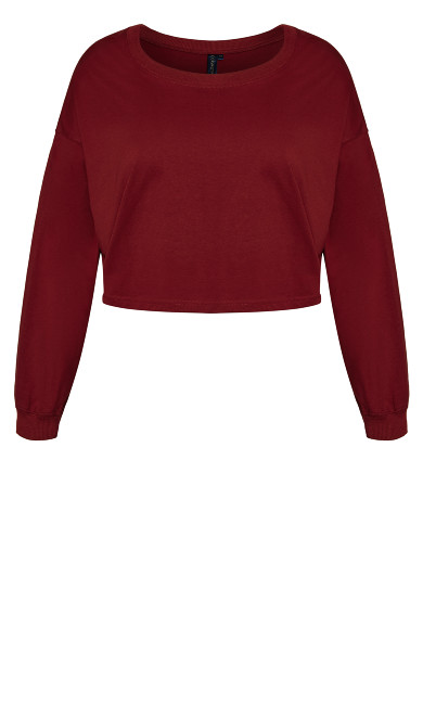 Lounge Long Sleeve Crop Top - pomegranate