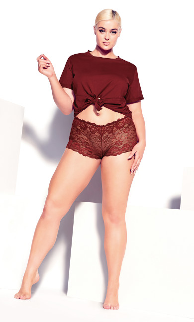Plus Size Red Lounge Crop Tee