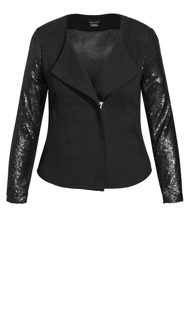 Sequin Sleeve Jacket - black