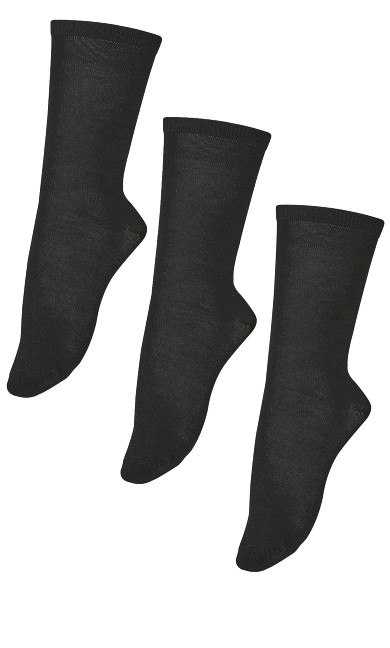 Flat Knit Crew Socks 3 Pack - black