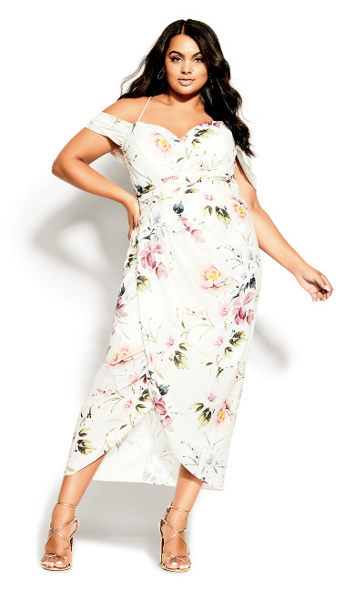 Plus Size Darling Floral Maxi Dress - ivory