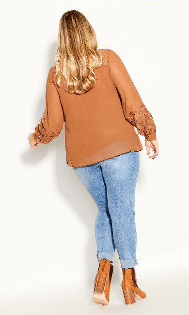 Mysterious Lace Top - caramel