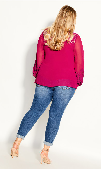 Mysterious Lace Top - sangria