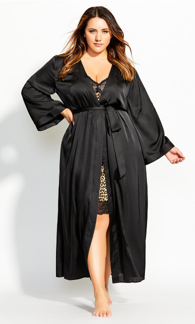 Women's Plus Size Long Satin Wrap - black