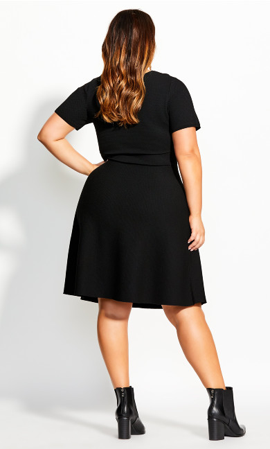 Texture V Neck Dress - black