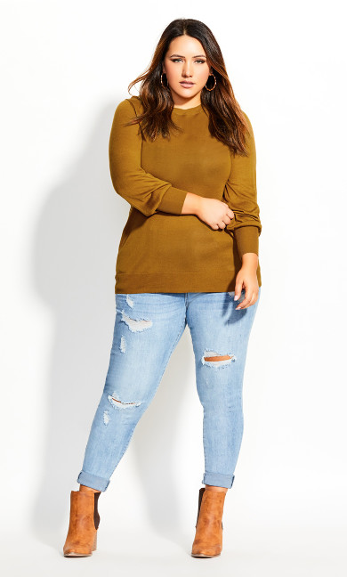 Women's Plus Size Sheer Everyday Jumper - gold