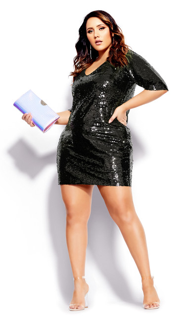 Women's Plus Size Sequin Glow Dress - black
