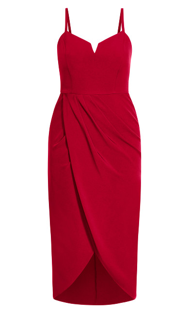 Sassy Notch Neck Dress - red