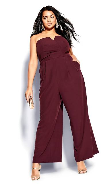 Plus Size So Sassy Jumpsuit - bordeaux