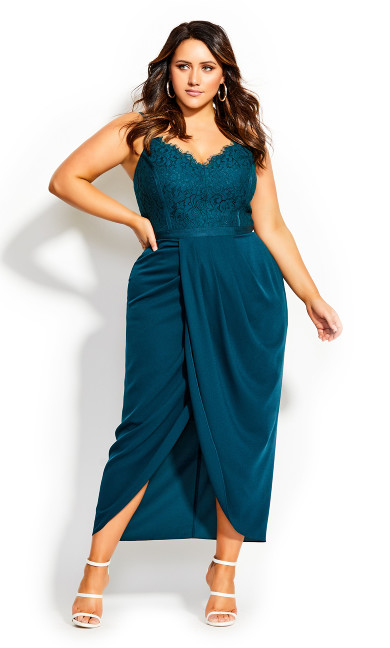 Touch Of Lace Dress - emerald