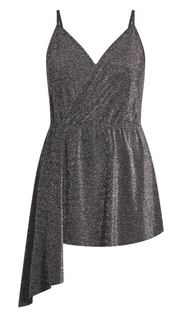Asymmetric Glitz Top - silver