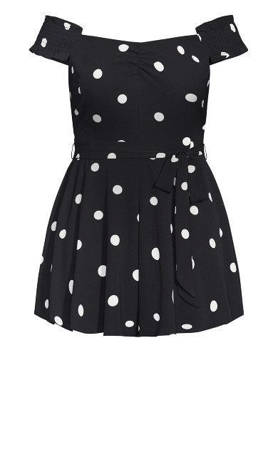 Spotty Playsuit - black
