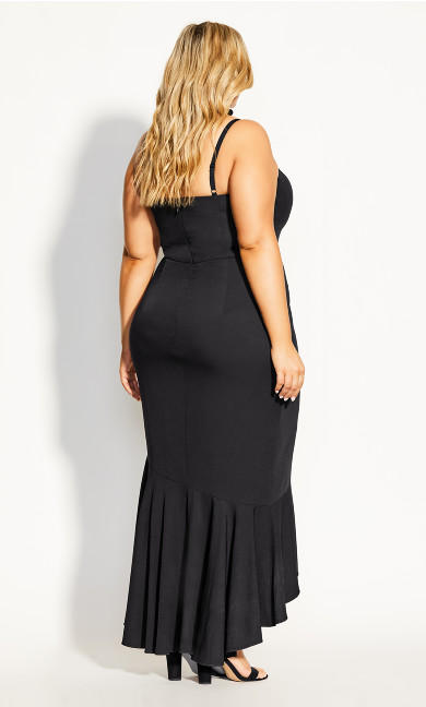 Ruffle Delight Maxi Dress - black
