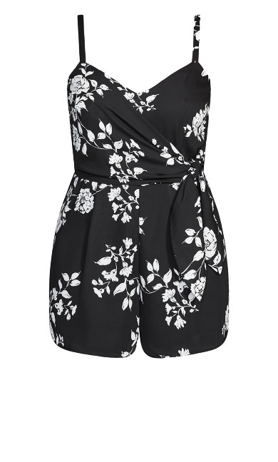 Night Floral Playsuit - black