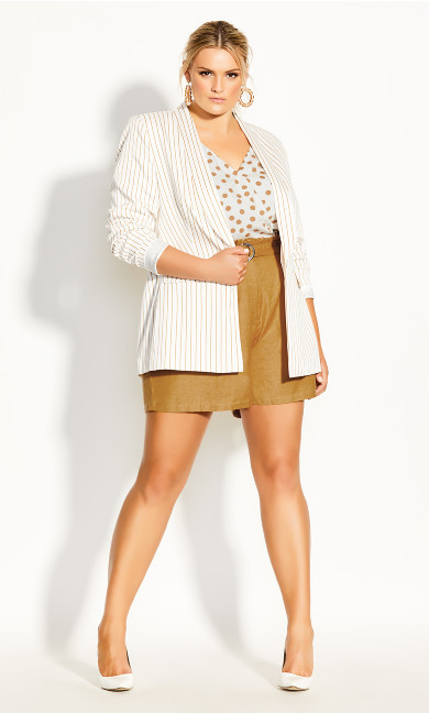 Plus Size Elegant Stripe Jacket - ivory