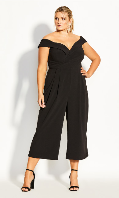 Plus Size Ripple Love Jumpsuit - black