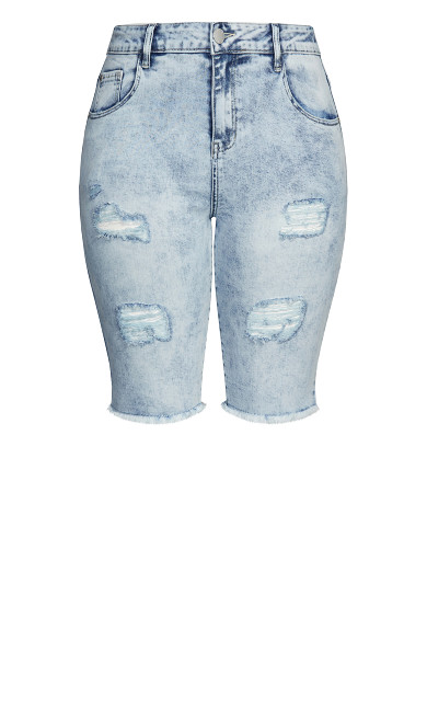 Ripped Up Skinny Short - denim