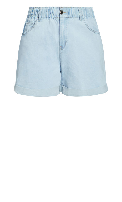 Ruffle Waist Short - light denim