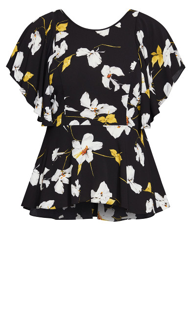 Crepe Floral Top - black