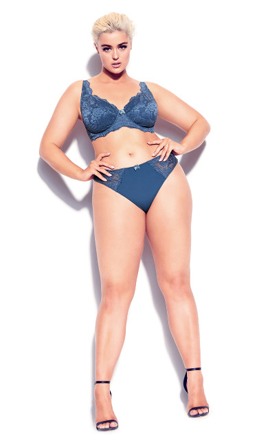 Plus Size Darcie Underwire Lace Bra - dark denim