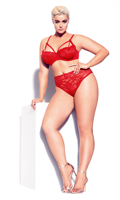 Plus Size Olivia Strappy Lace Bra - red