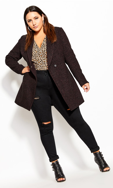 Plus Size Textured Bliss Coat - oxblood