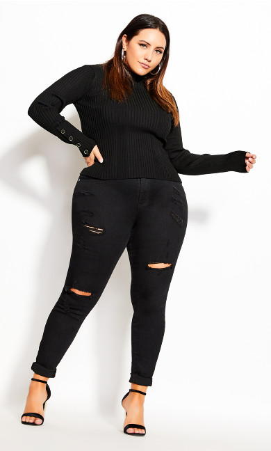 Plus Size Cropped Rib Jumper - black