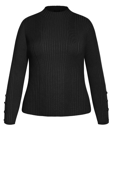 Cropped Rib Jumper - black