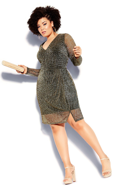 Plus Size Sparkle Dress - gold